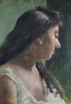 Godin (19th/20th century) - A portrait of a woman