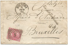 """ITALY 1874 - """"VIA DEL MONCENISIO""""  postmark on letter from Bologna to Brussels"""