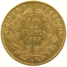 France – 10 Francs 1863 BB Napoleon III – gold