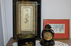 4 items: Lidded vase, jewellery box, framed embroidery and painting on silk – China & Japan – 2nd half of the 20th century