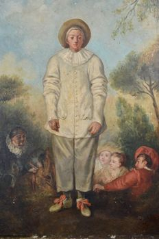 After Jean Antoine Watteau - Pierrot and characters of the Commedia Dell'arte