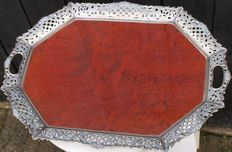 Veneered tray with silver-plated edge - Hooijkaas Schoonhoven