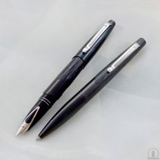 Sheaffer Intrigue Fountain Pen & Ballpoint Pen | Model 614 - Shiny Black & Stencilled Matte Black | New Old Stock / Mint Condition