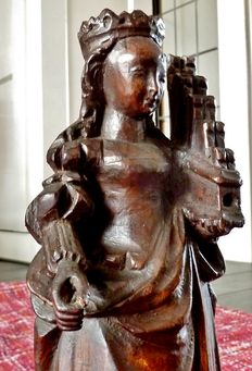 Wooden sculpture crowned Cecilia with organ - Mechelen, Belgium - early 16th century