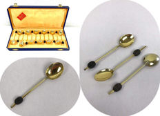 "Mills - light gold plated metal coffee spoons ""coffee bean spoons"""
