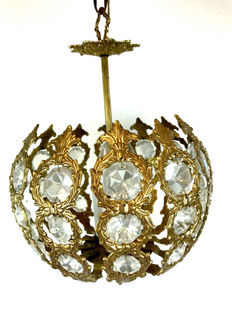Brass ceiling lamp with glass icicles - three lights - France - ca. 1930