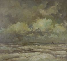 Unknown (20th century) - Fishing boats on stormy seas