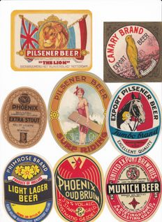 Fantastic lot of 32 beer + 2 lemonade old to very  labels (1910 - 1965) from the Phoenix Brewery / Amersfoort / Holland