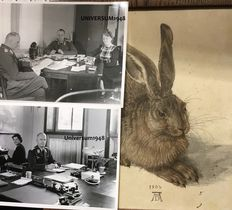 "WW II A reprint by Albrecht Dürer Nuremberg Rally 1933, ""Hare"", and 15 photos. 100 % original"