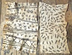 African Hand painted bark cloth - two pieces. Ituri. Congo