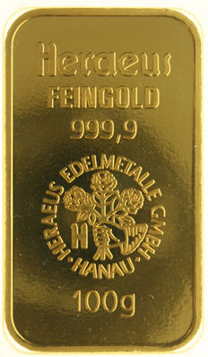 Fine gold bar, HERAEUS GMBH HANAU  100 gram 999.9, sealed