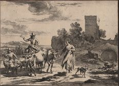 Nicolaes Berchem (1621 - 1660) by Johannes Visscher ( 1633 - 1692)  - Pastorale landscape:  Mounted herder and footed women - Around 1660