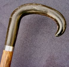 Cane with hook handle in horn - France - ca. 1920