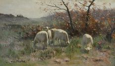 Frans Pieter Ter Meulen. (1843-1927) - Sheep at the edge of the wood