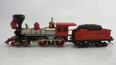 """Bachmann H0 - 0670 - Steam locomotive with pulled tender """"Jupiter"""" of the Central Pacific Railroad (C.P.R.R.)"""