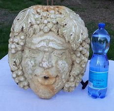 Big mask - Bacchus for fountain, made of Botticino marble - Italy - around 1800.