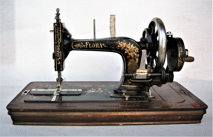 Flora Gritzner hand sewing machine with original wooden cover Stunning Original Sewing Machine