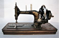 Flora / Gritzner hand sewing machine with original wooden cover, Germany, early 20th century