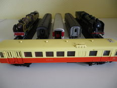 Hornby/Märklin/Jouef/Atlas H0 - Lot of 6 elements: railcar, carriages of the SNCF