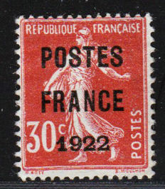 France 1922 – Postes France 1922 – Precancelled Yvert No. 38 signed Calves