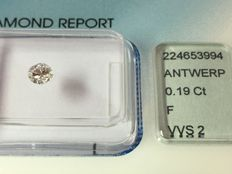 Diamond in brilliant cut - 0.19 ct. F VVS 2 with IGI certificate