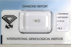 0.12 ct Brilliant-cut diamond - I/VS2 NO RESERVE PRICE
