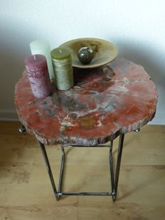 petrified wood side table industrial look - 520x420x400mm 10.5kg