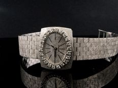 Longines watch in 18 kt white gold and diamonds, 1950, full gold