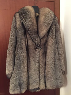 Silver fox fur coat, made in Italy