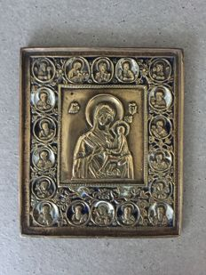 Beautiful bronze mother of God Tichvin travelling icon with deisis edge - 19th century