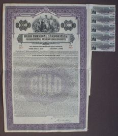 Germany Ruhr Chemical Corp. 1000$ Gold Bond 1928 in default