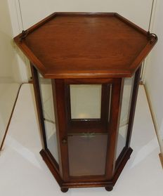 Hexagonal Oak and Glass tea cabinet with tray - 1950s