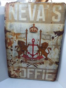 very old Neva's coffee enamel sign - 1950.