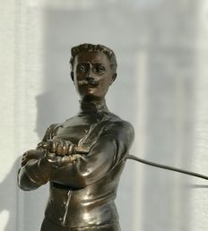 Xavier Raphanel (1876-1957)- large burnished zamak statue of a fencer titled Le Defi - France - early 20th century