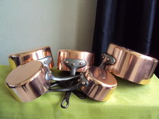 Set of 5 tinned copper pans
