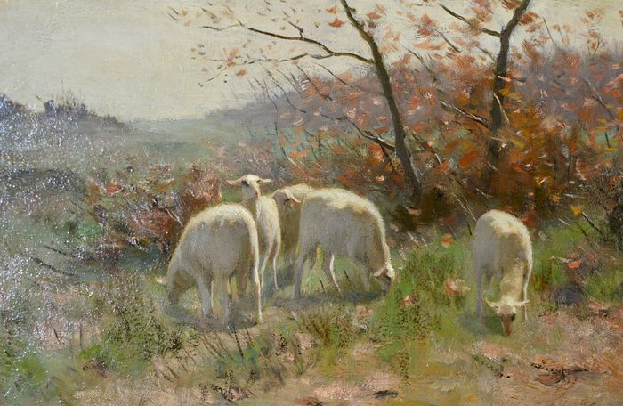 Frans Pieter Ter Meulen  (1843-1927) - Sheep at the edge of the wood -  Catawiki
