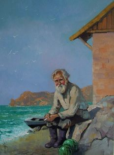 Jacek Lacki  - The Old Fisherman - Seascape