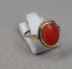 14k gold ring with red coral.