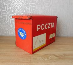 Red enamal letter-box - Polish Post - Original - from 60/70's