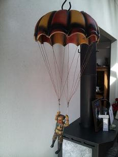 Parachutist in an air balloon