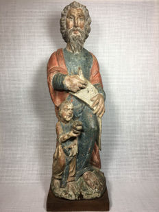 Beautifully carved large polychrome wooden statue of a saint depicting the prophet Elisha - presumably 16th/17th century