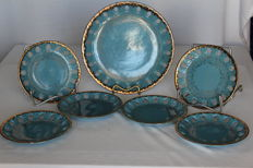 Japanese 'Marumori' ceramic plates. Seven piece dresser set.