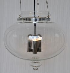 Glashütte Limburg - chrome and hand blown glass pendant/ceiling light.