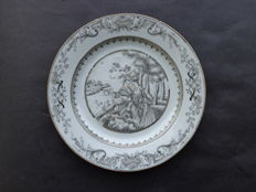 Grisaille/Encre de Chine plate with European scene – China – 18th century.