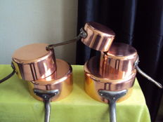 Set of five tinned copper pans FRENCH MANUFACTURE