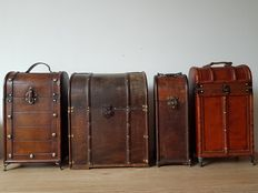Four wooden wine boxes - second half 20th century