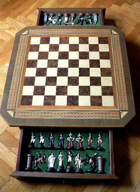 Collection chess of hand painted lead furniture board for Painting over lead paint on furniture