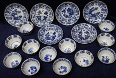 12 cups and six saucers, Chinese - late 17th century (Kangxi period).