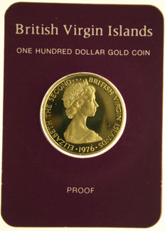 British Virgin Islands – 100 Dollars 1976  in orginal blister – gold
