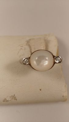 925 Silver ring with white onyx and diamonds for 0.02 ct - Size: 15